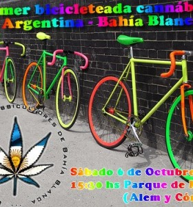 Primer bicicleteada cannábica mundial – Argentina – Bahía Blanca