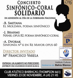 Concierto Sinfónico Coral solidario en adhesión al día de la Soberanía Nacional