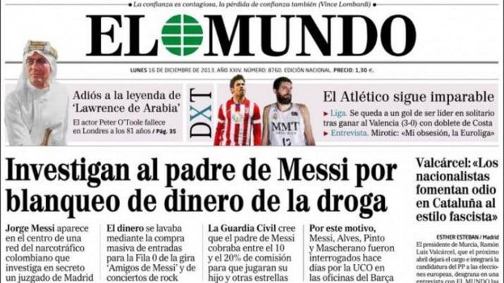 La Guardia Civil española desligó al padre de Messi del lavado de dinero narco