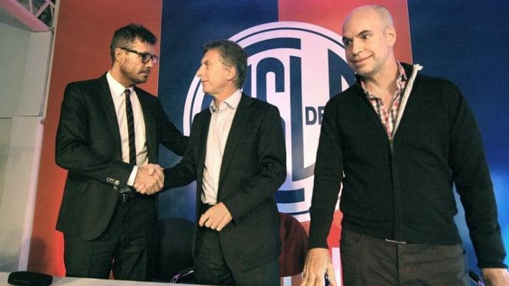 Macri y Tinelli en la firma de un acuerdo entre la Ciudad y San Lorenzo