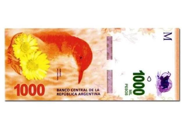 El BCRA lanzará en octubre el billete de $1.000 con la figura del hornero