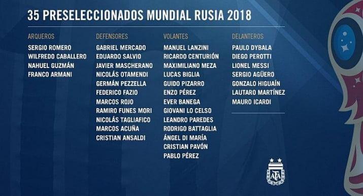 Sampaoli da a conocer la lista de 35 preseleccionados para el Mundial