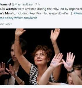 Susan Sarandon, arrestada por protestar contra Trump