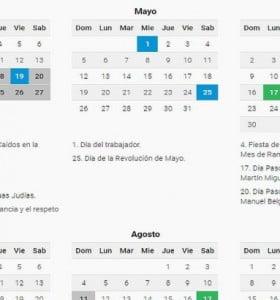 """El 2019 tendrá 19 feriados y tres """"puentes"""""""