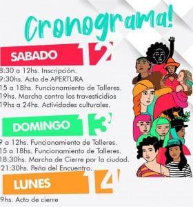 Cronograma completo del Encuentro Nacional de Mujeres 2019