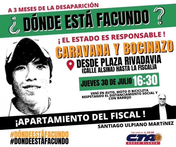 ¿Dónde está Facundo?: caravana y bocinazo en Bahía Blanca