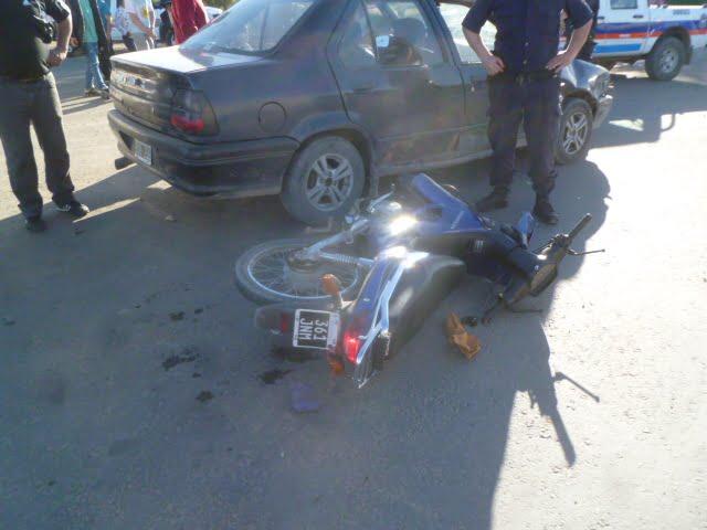Otra vez, un accidente de transito arrojó un motociclista herido