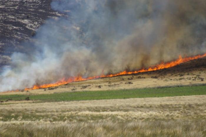 Continúa la lucha terrestre contra el incendio en el sector serrano