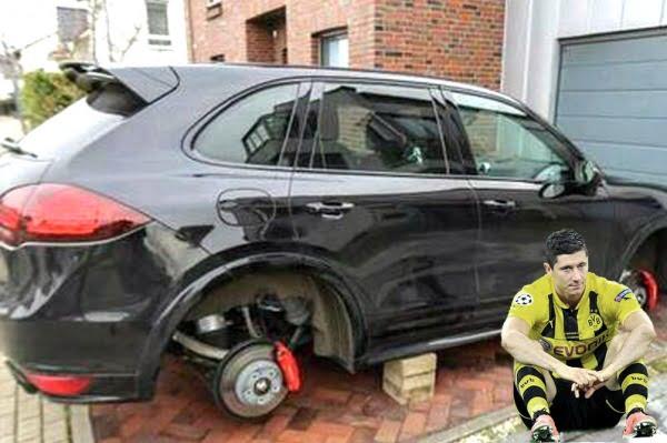 Le robaron las cuatro ruedas al Porsche del goleador Lewandowski