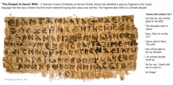 """Afirman que el papiro """"El Evangelio de la esposa de Jesús"""" no es falso"""